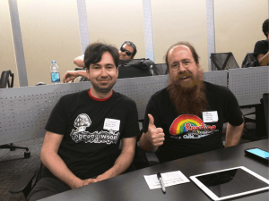 Freehold Games' Jason Grinblat (left) and Brian Bucklew (right, with his epic beard)