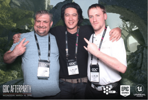 Josh, Aaron, and Blane at the Epic Games/CCP Games GDC Afterparty
